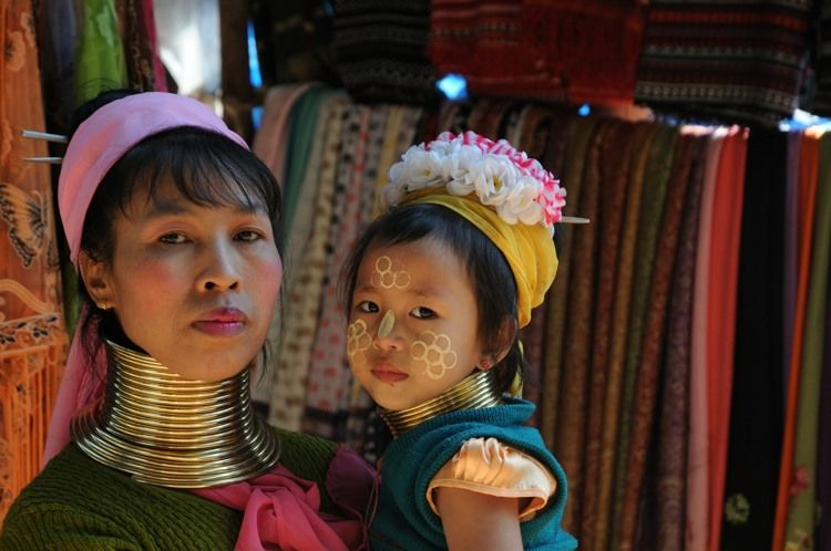 Padaung woman and child