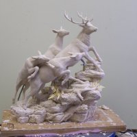 Wax Sculpt of Stag with Hinds