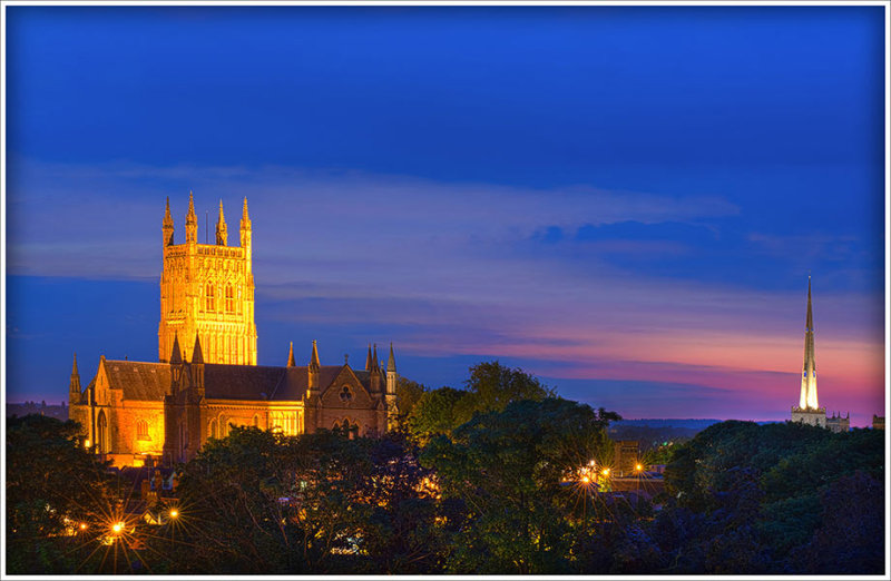 Worcester Cathedral At Dusk From Fort Royal Park