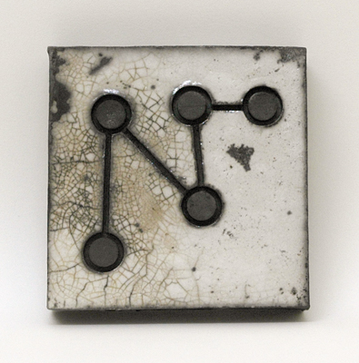 join the dots<br>raku fired stoneware, height 94mm