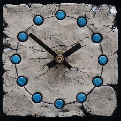 ceramic clock, blue spots