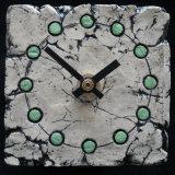 ceramic clock, green spots