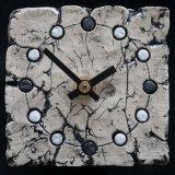 ceramic clock, black and white spots