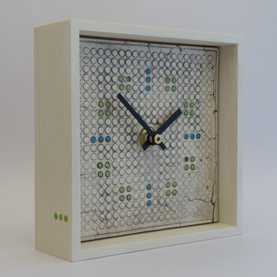 ceramic clock, wooden frame