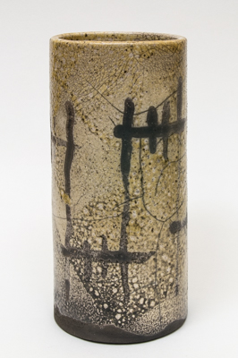 tall pot<br>raku fired stoneware