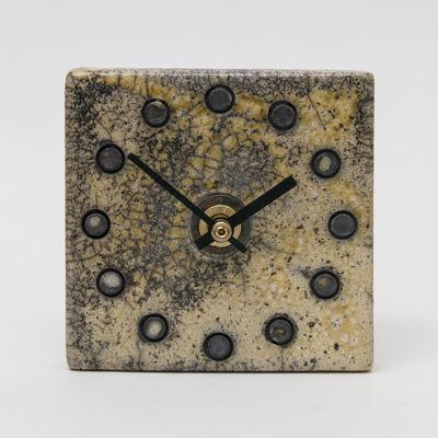ceramic clock, raku fired