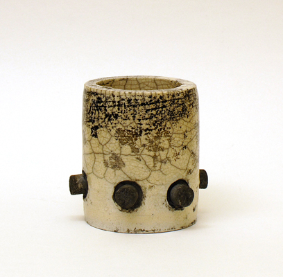 six pot<br>raku fired stoneware, height 80mm