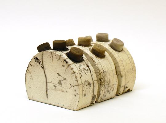 three by three<br>raku fired stoneware, height 76mm