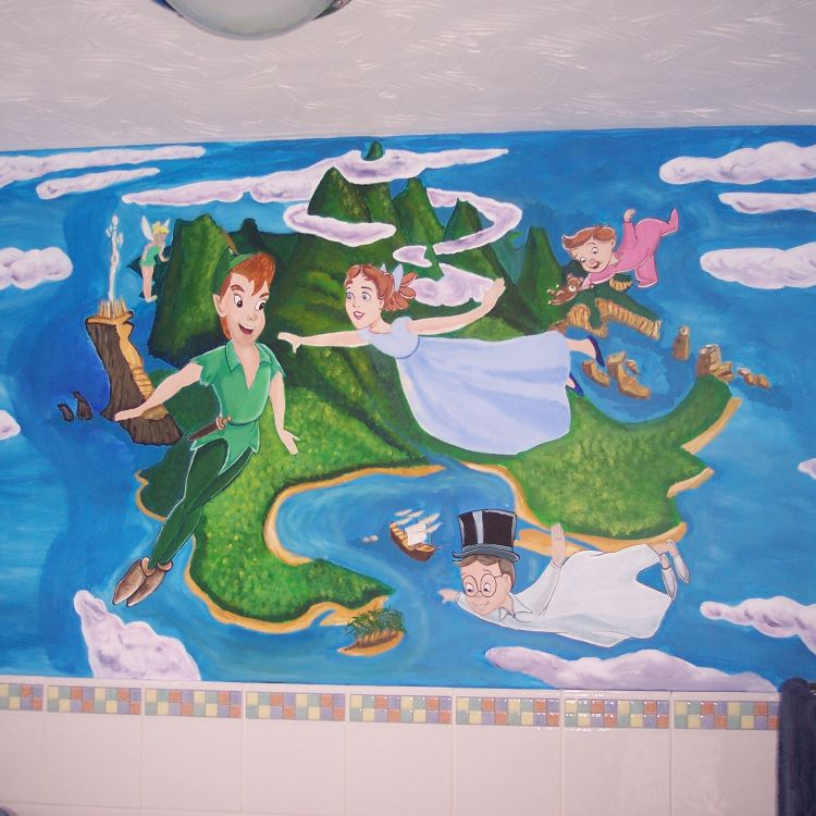 Peter Pan bathroom mural