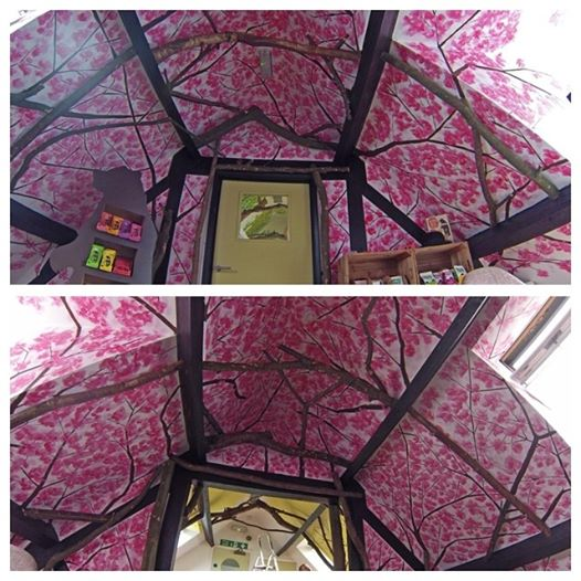 A cherry blossom ceiling for Bear Nibbles