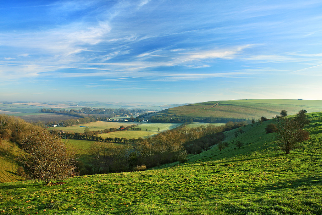 Early Morning View of Bowerchalke from Woodminton Down