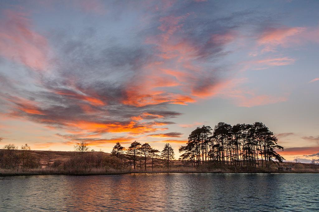 Sunset at Knowetop Lochs