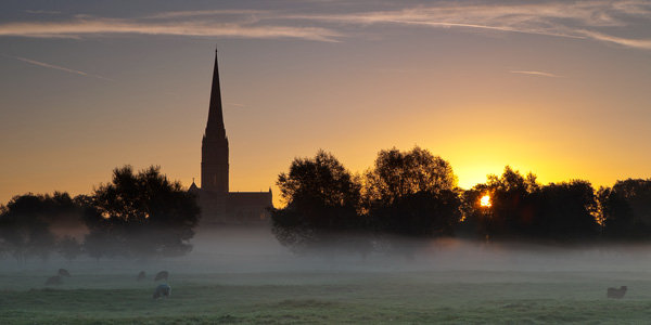 Salisbury Cathedral and Water Meadows at sunrise