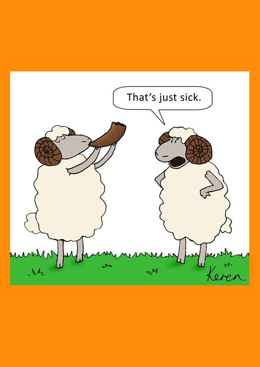 Sheep Blowing Shofar