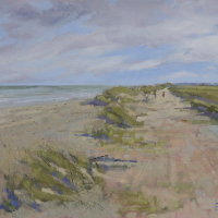 """The beach at Minsmere"" Oil on canvas 45 x 50 cms"