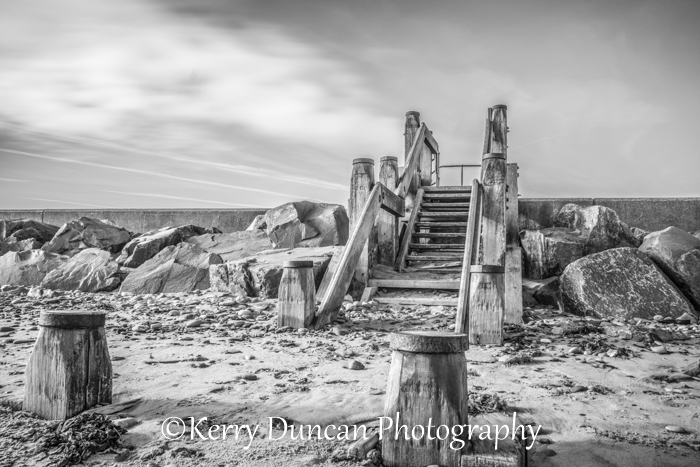 Beach Steps In Monochrome