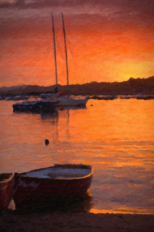 Teignmouth sunset oil painting 1