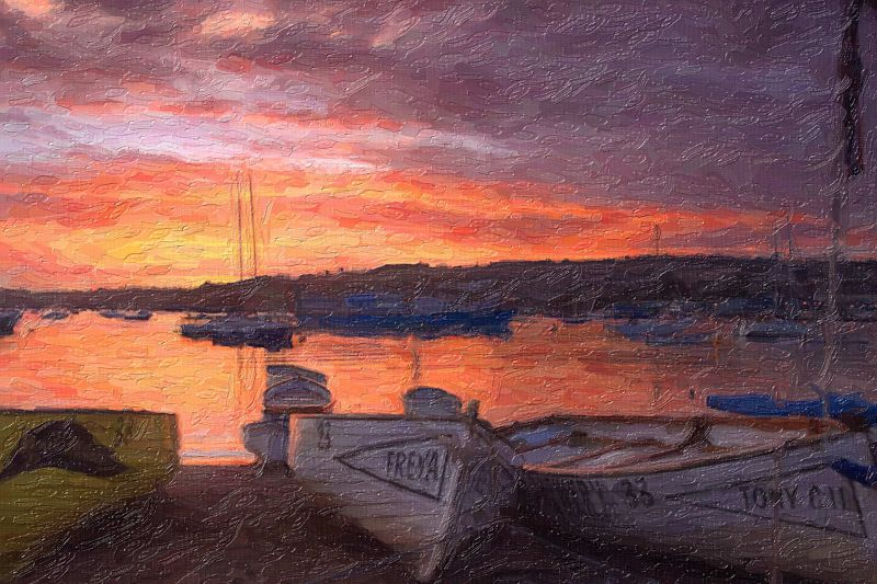 Teignmouth sunset oil painting 2