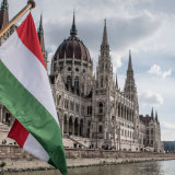 Hungarian Parliament Building viewed from the Danube