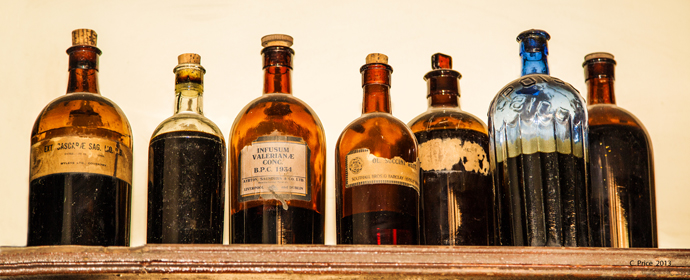 Seven bottles on a wall
