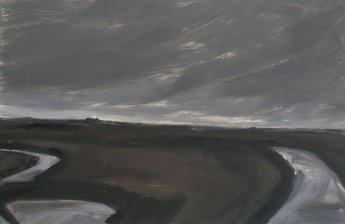 Sizewell from north die - monotype 2016 Sold Snape Maltings Gallery