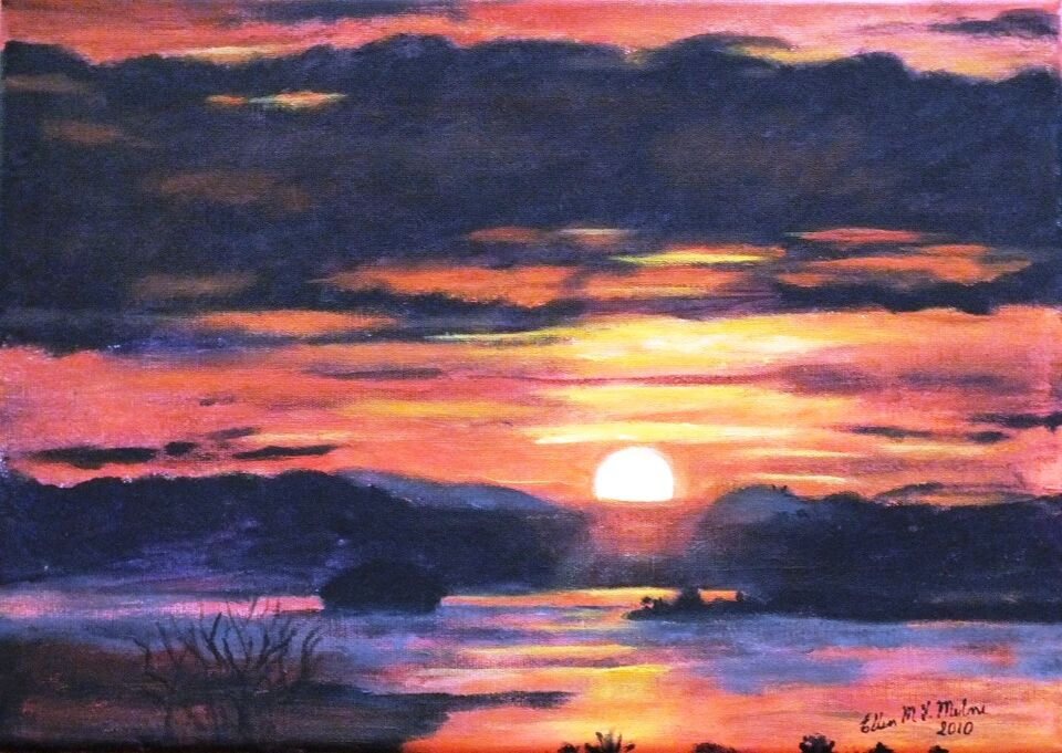 Sunset painted in Gouache