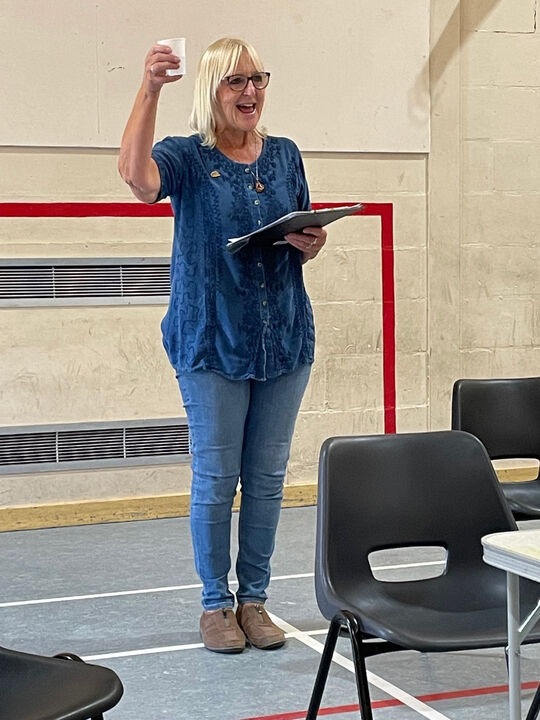 Chair Gillian Ross 'toasts' the reopening of the Club