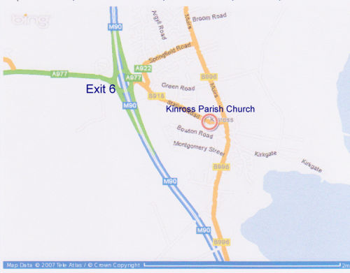 Map showing Kinross Parish Church