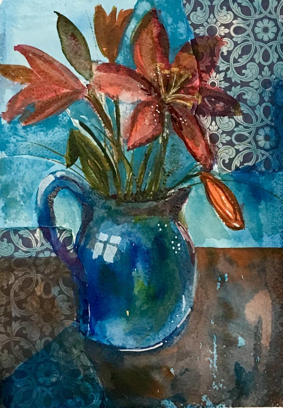 Lilies in a Blue Jug