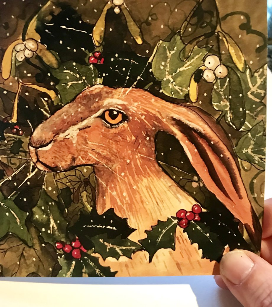 Christmas Hare Greeting Card