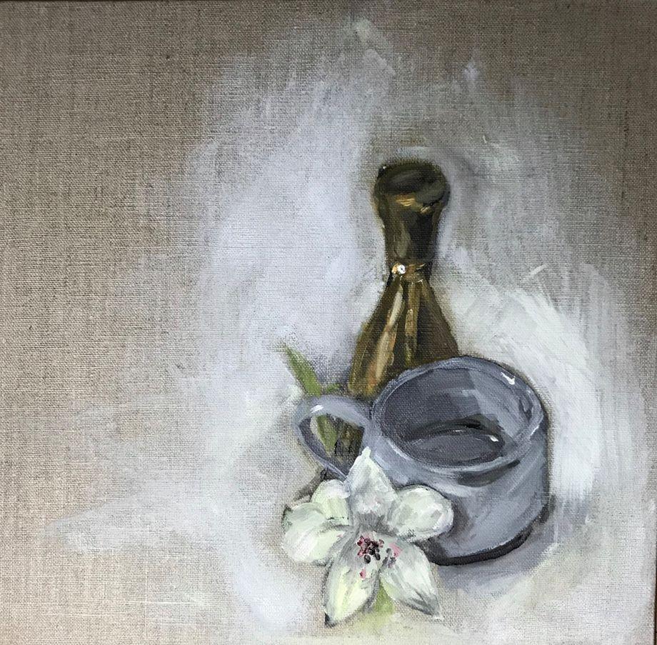 Espresso cup, Nkuku Brass Bell and Alstroemeria