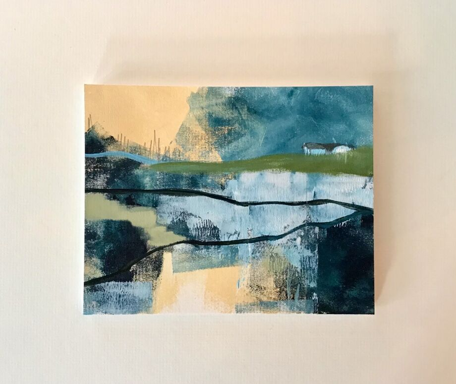 House on the hill - abstract landscape SOLD