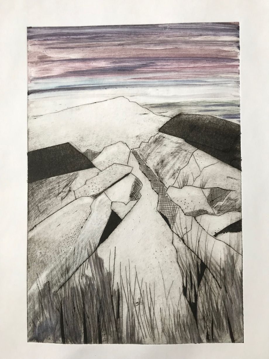 Rocky Path Colour dry point