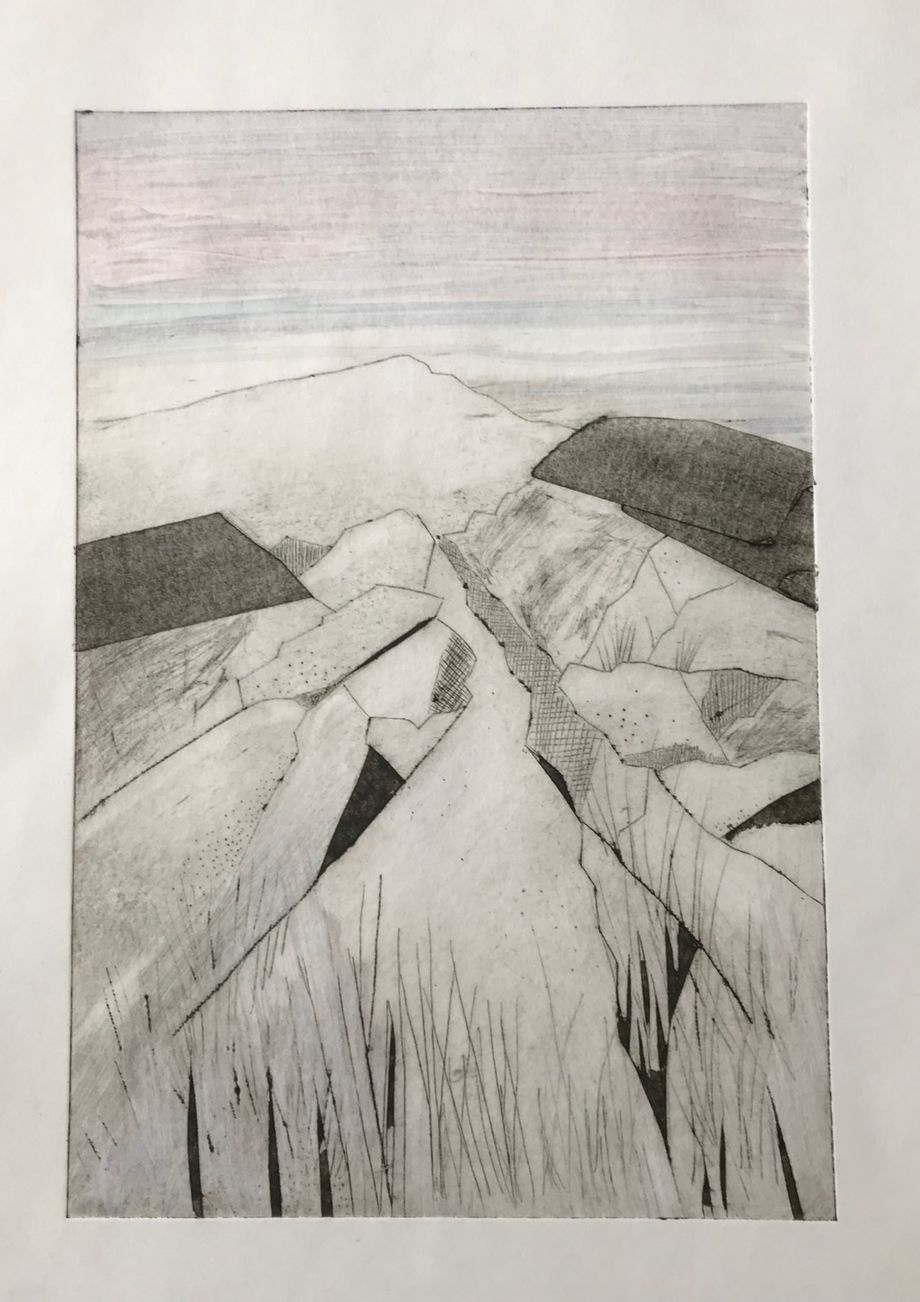 Rocky Path Colour dry point Ghost