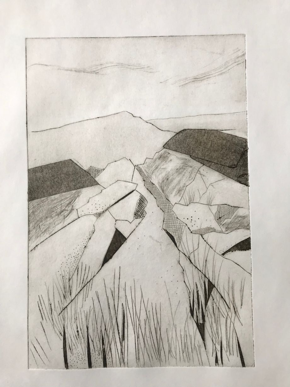 Rocky Path Mono dry point