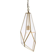 Avery E27 pendant light with glass panels = antique brass effect trim SY73117