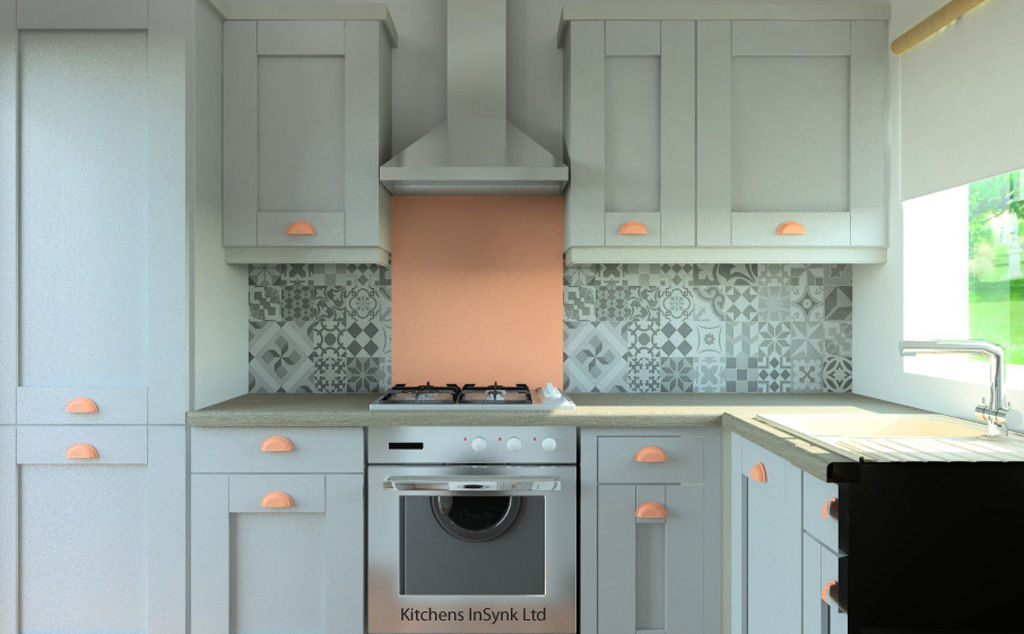 milbourrne doors in porcelain and dove grey matte with splashback in rose gold glass