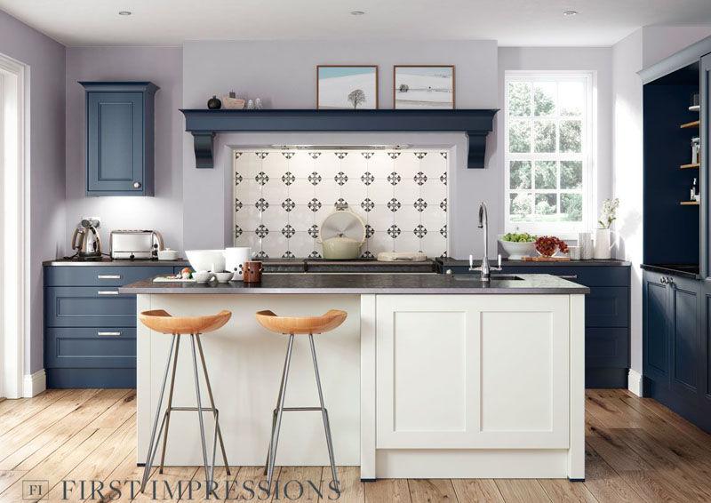 Farringdon Beaded - Porcelain & Dark Blue - Matt finish