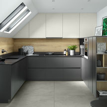 unity doors in graphite and light grey super matte finish kitchens insynk ltd