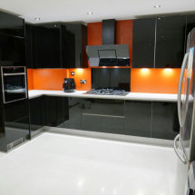 Polished Kitchen Units with White Worktops