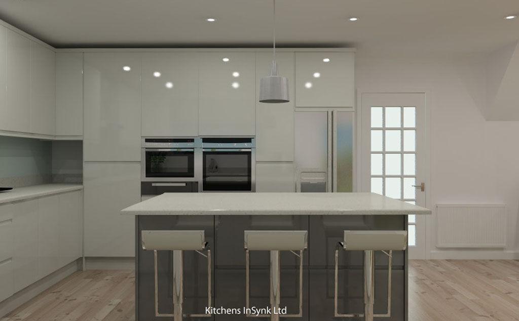 white gloss Remo kitchen design with dust grey kitchen island Articad