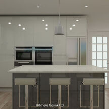 white gloss Remo kitchen design with dust grey kitchen island Articad