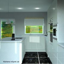 white kitchen units in remo gloss and white sparkly quartz with black floor