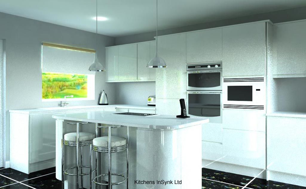 white and black contemporary kitchen by kitchens insynk ltd