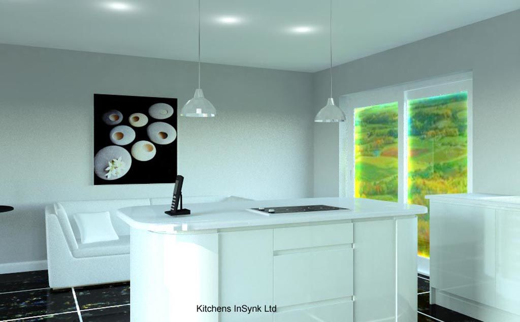 White Remo units designed and installed by kitchens insynk ltd