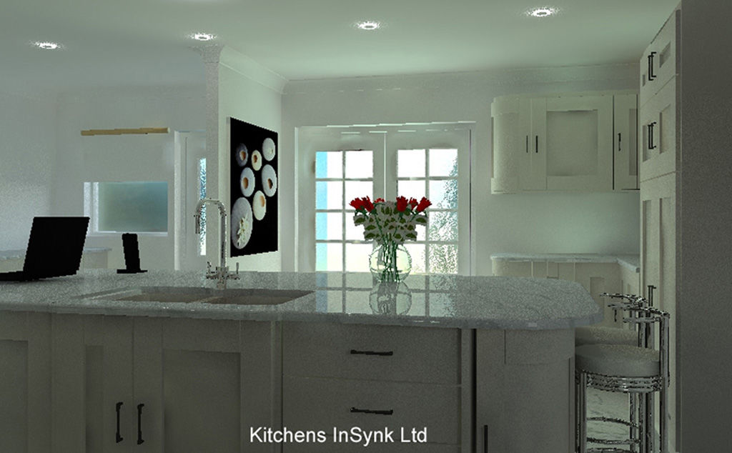 Beautiful quartz worktop on island - kitchen design by kitchens insynk ltd solihull
