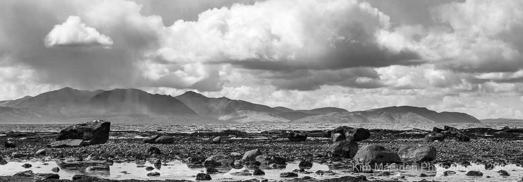Rain clouds over Isle of Arran