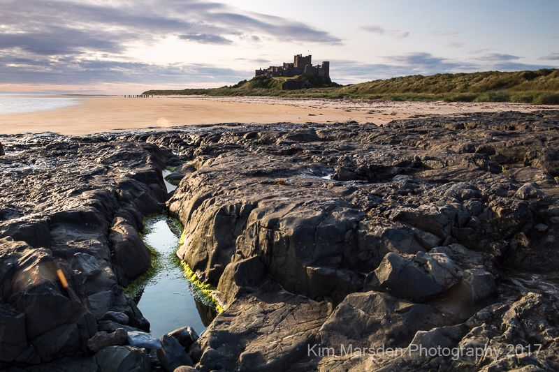 Bamburgh Castle in early morning light