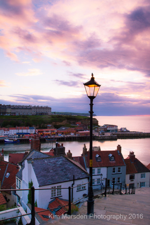 Whitby steps sunset