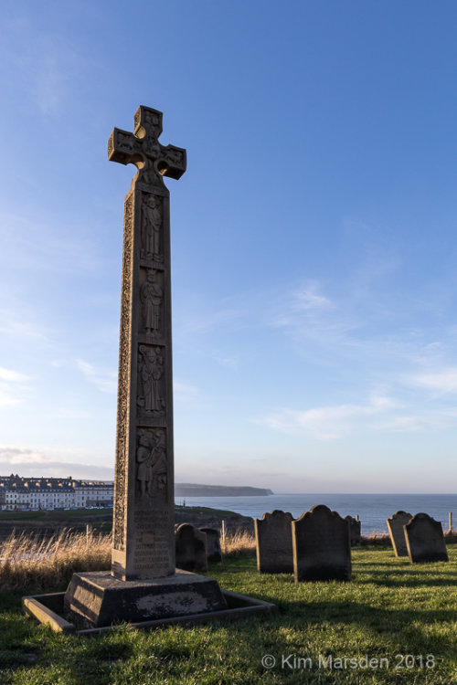 Caedmon's Cross, St Mary's Church, overlooking the bay - Whitby